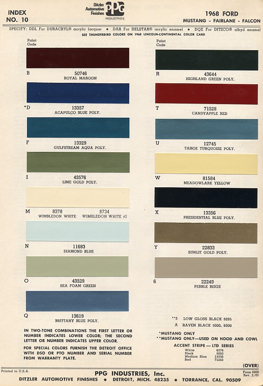 Ford Mustang Factory Paint Colors